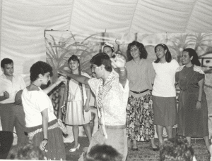Tarek, right, dances during a Cultural Focus night in 1986