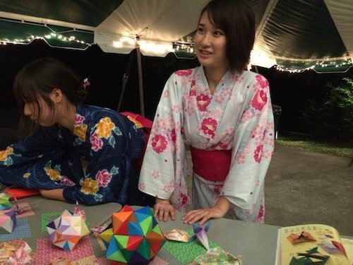 Haruhi, from Japan, wears her Yukata and teaches traditional Japanese origami